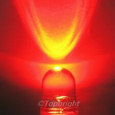 10 PCS 10mm 40° 1W Watt Red LED 300mA 280,000mcd!NEW!