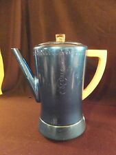 Vintage West Bend FLAVO-MATIC Aluminum Blue Coffee Percolator 8c With Cord!