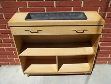 Vintage Mid Century Modern Bookcase W Built In Planter Blonde 50's 60's Retro
