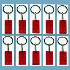 10 Lot Key Rings w/ Lego 3020 2x4 Red brick Plate Gift, Party Favor, Game Prize