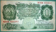 UK GREAT BRITAIN BANK OF ENGLAND 1 POUND NOTE FROM 1955-60 ISSUE , P 369 c,