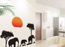 African Elephant Sunset Palm Tree Wall Decals Sticker Vinyl Mural Room Decor Art