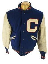 Mens Vintage 1950's School Letterman Varsity Leather Wool Football Jacket S 38