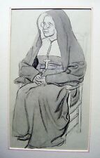 SMALL PORTRAIT A SEATED NUN  SUSAN BEATRICE PEARSE PENCIL AND WASH  C1920