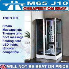 1200 x 900 Thermostatic Steam Shower Enclosure Cubicle Fold Down Seat Trays Legs