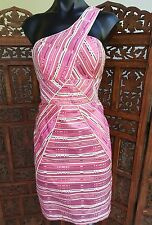 NWT Seduce Silk Pink Asymmetrical Strap Fitted Lined Dress  Size 10 RRP$259