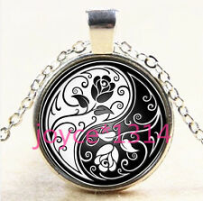 Yin Yang Rose Cabochon Tibetan silver Glass Chain Pendant Necklace #3727