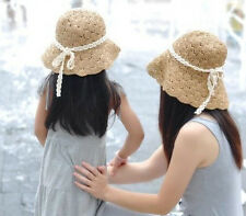 NEW Girls Womens Mother Daughter Sun Beach Flower Cap Handmade Straw Hat#