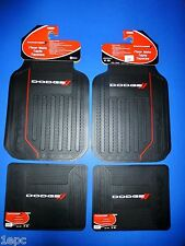 Dodge Elite With  Logo Front Rear Rubber Floor Mats 4 Pcs Set Car Truck SUV