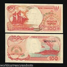 INDONESIA 100 RUPIAH P127 1992/1993 VOLCANO BOAT UNC CURRENCY MONEY BILL NOTE