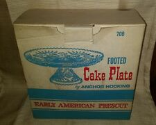 """Vintage Anchor Hocking Early American Prescut Fan & Star 13.5"""" FOOTED CAKE PLATE"""