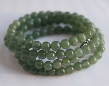 "CERTIFIED Natural ""Grade A"" Icy Green Jadeite JADE Round Beads Necklace #N105"