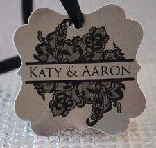 20 Metallic Silver Vintage Lace Personalized Wedding Favor Tag, Bridal Shower