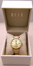 New ELLE Watch EL20331S07C w/Date & Beige Leather Band Analog Gold Plated