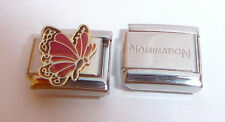 RED BUTTERFLY 9mm Italian Charm + 1x Genuine Nomination Classic Link N4 JANUARY