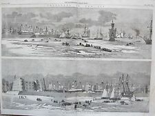 1857 CRONSTADT IN THE ICE MERCHANT VESSELS OUTSIDE THE MAN OF WARS MOLE SKETCHES