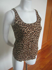 Lucky Brand Brown Black Tan Leopard Print Sleeveless Scoop Neck Tank Top Sz XS