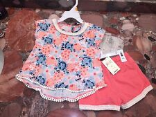 NWT Lucky Brand Jeans Girl's Summer Floral Outfit 2 Pc Set Shorts Top Toddler 3T