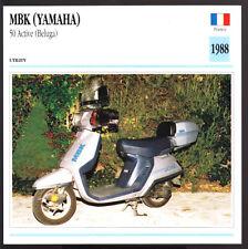 1988 MBK 50cc Active (Beluga) Motobecane Yamaha Scooter Moped Photo Spec Card