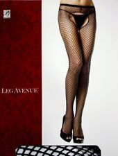 SPANDEX CROTCHLESS INDUSTRIAL NET Fishnet Pantyhose BLACK PLUS