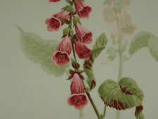 "SANDERSON CURTAIN FABRIC DESIGN ""Foxgloves"" 2.6 METRES BUTTERMILK & RASPBERRY"