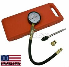 SMALL - LARGE ENGINE COMPRESSION TESTER GAUGE KIT SET TOOL SPARK W PLUG ADAPTERS