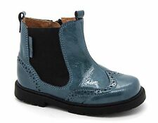 Startrite Infant Girls UK 8.5 F EU 26 Teal Patent Leather Zip Up Chelsea Boots