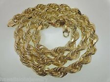 """10MM SOLID CORE HEAVY 14K YELLOW GOLD DC ROPE LINK CHAIN NECKLACE 24"""" 147.7gr"""