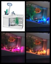 LED Colour Changing USB Fish Tank With Desk Top Lamp & Stationary Holder