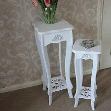 white wooden set 2 two side tables lamp pot home hall display end