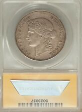 SWITZERLAND REPUBLIC 1908-B  5 FRANCS, ALMOST UNCIRCULATED CERTIFIED ANACS AU53