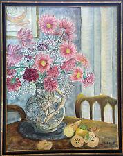 """Peinture huile sur toile Evelyne Ballestra, intitulée """"Fleurs au vase rond"""""""