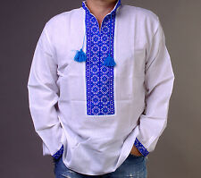 EASTER Gift Ukrainian  Men VYSHYVANKA SHIRT Embroidery Homespun cloth XL