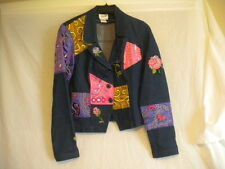 Women's Blue Jean Jacket Embroidery Beads  Designs ~Size 6~ 'Together' NICE!