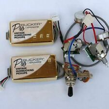 Set of Gold ProBucker Alnico Neck and Bridge Pickups with Pro Wiring  Harness