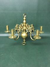 Fine Antique Cast Brass 6 Arm Chandelier ~Dutch ~Early 1800's ~Candles ~