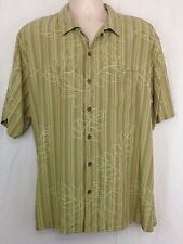 Tommy Bahama Mens XL Short Sleeve Camp Shirt Olive Green Floral  Striped Silk