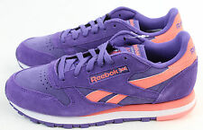 Reebok Womens Classic Suede Violet Coral White Seasonal II Athletic Shoe Size 6
