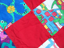 "Baby QUILT Handmade 45""x  32"" Crib size blanket  wall hanging RED PRIMARY COLORS"