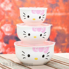 New 3Pcs Pink Hello Kitty Ceramic Food Rice Bowl Storage Containers Set