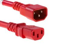 Power Jumper Cable IEC C13 Female to IEC C14 Male Red 1m