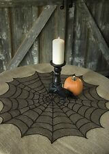 """Table Topper / Doily 30"""" Round - Spider Web in Black By Heritage Lace"""