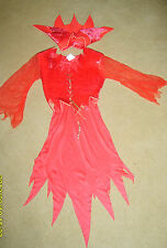 GIRLS CHILDS RED DEVIL GIRL HALLOWEEN FANCY DRESS COSTUME S AGE 4-6 YRS