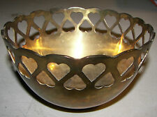 Vintage Solid Brass Leadfree Heart Pattern Candy/Trinket Bowl Made in India