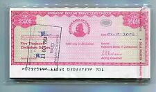 ZIMBABWE DOLLAR TRAVELLERS CHEQUE $5 000 CHECK 2003 - P#16 -RARE x 100 PIECES A