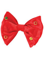 Red Clip-On Dickie Bow Tie Flashing Lights Fun Clown Fancy Dress Accessory New