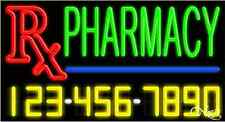 "NEW ""PHARMACY"" w/YOUR PHONE NUMBER 37x20 REAL NEON SIGN W/CUSTOM OPTIONS 15095"