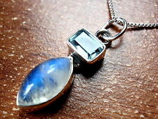 Faceted Blue Topaz Baguette Moonstone Marquise Necklace 925 Sterling Silver New