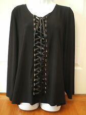 Fashion Bug Plus Size 3X 22/24 Black Stretchy Lace Up Front Knit Top Blouse Tuni