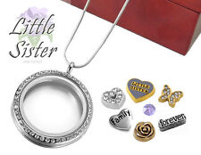 LITTLE SISTER CRYSTAL Glass Locket Pendant Set w/ Floating Charms, Necklace